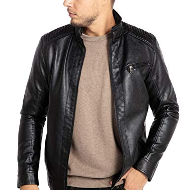 WULFUL Men's Stand Collar Leather Jacket Motorcycle Lightweight Faux