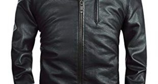 Fairylinks Mens Stand Collar Faux Leather Jacket Classic Moto Zip Up