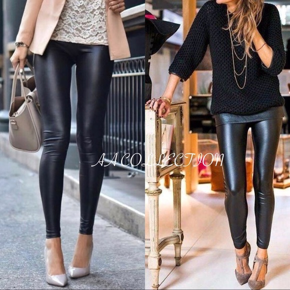 Boutique Pants | Matte Black Slick Faux Leather Leggings | Poshmark