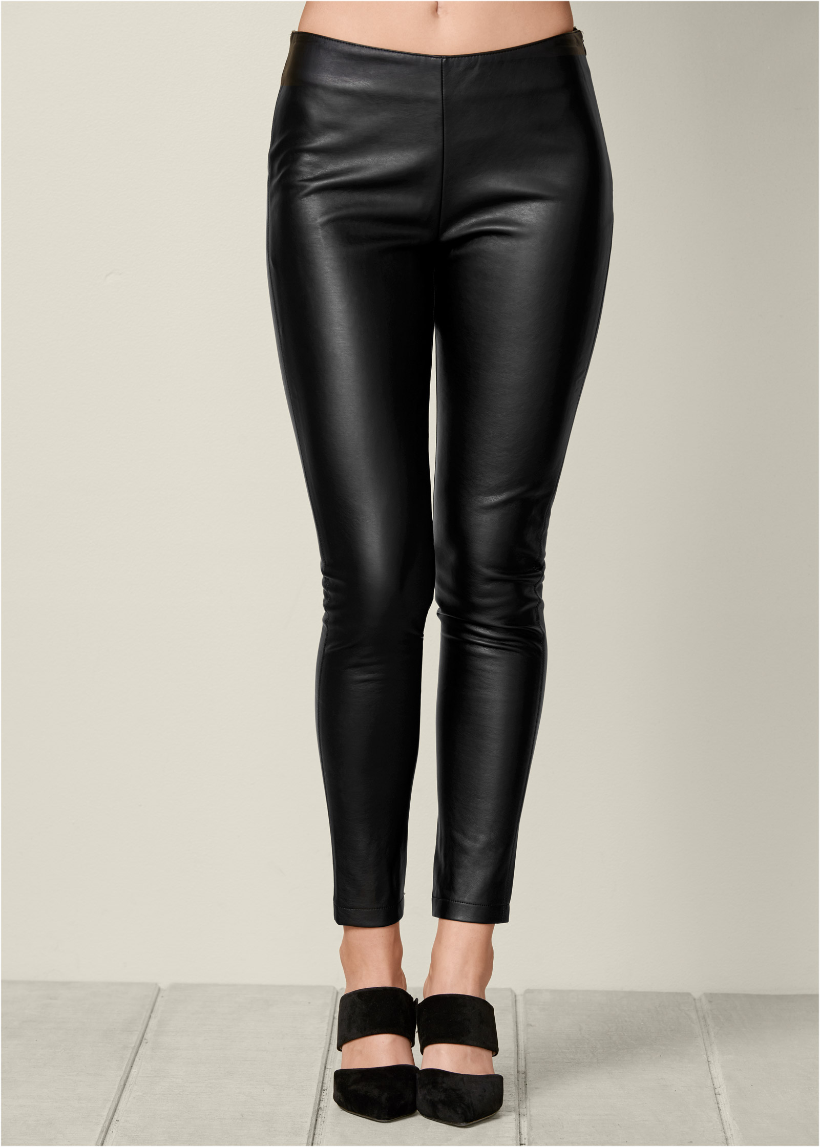 FAUX LEATHER LEGGINGS in Black | VENUS