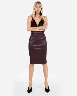 High Waisted Seamed (minus The) Leather Pencil Skirt | Express