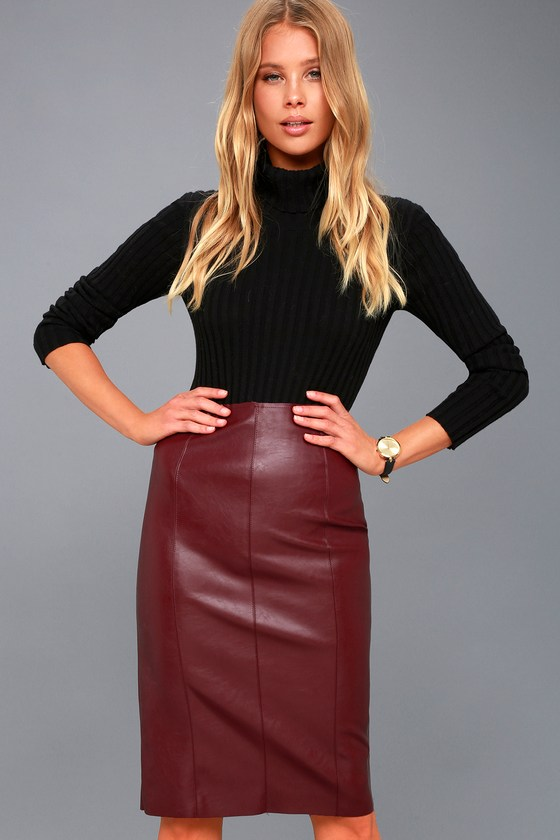 Sexy Vegan Leather Skirt - Midi Skirt - Pencil Skirt