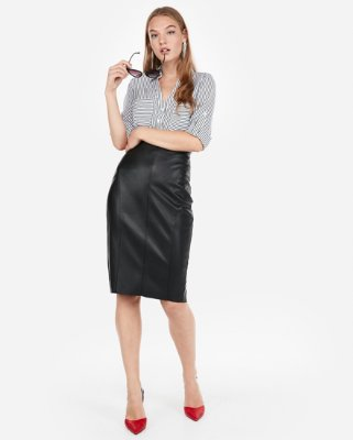 Petite High Waisted Seamed (minus The) Leather Pencil Skirt | Express