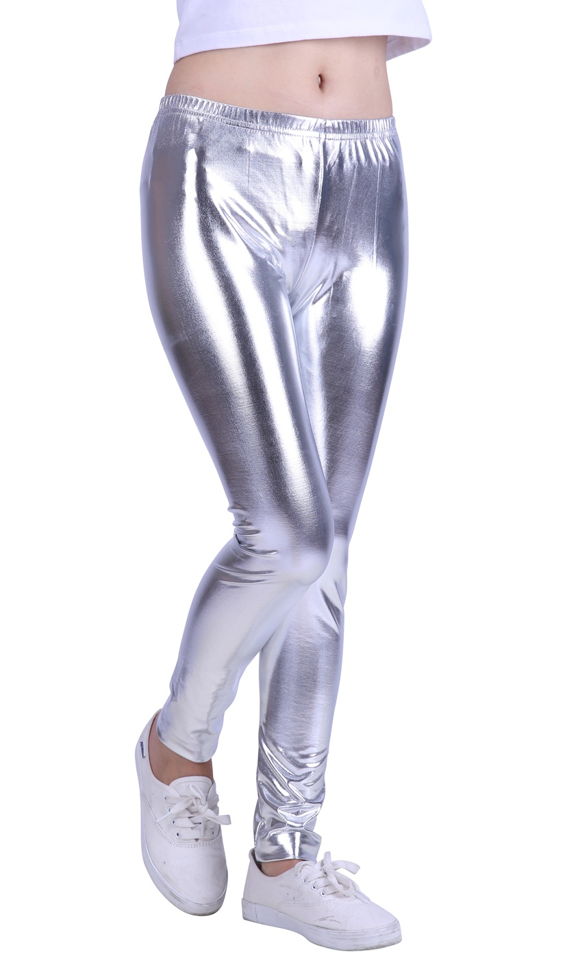 HDE - HDE Girls Shiny Wet Look Leggings Kids Liquid Metallic
