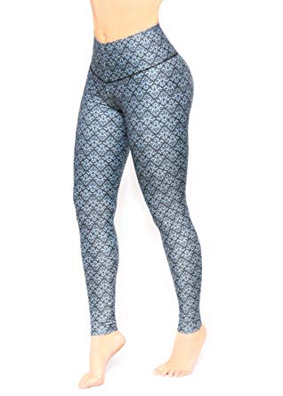 Amazon.com: Women Light Blue and black Pattern Printed Leggings with
