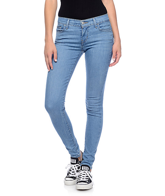 Levi's 710 Medium Blue Mid Super Skinny Jeans | Zumiez