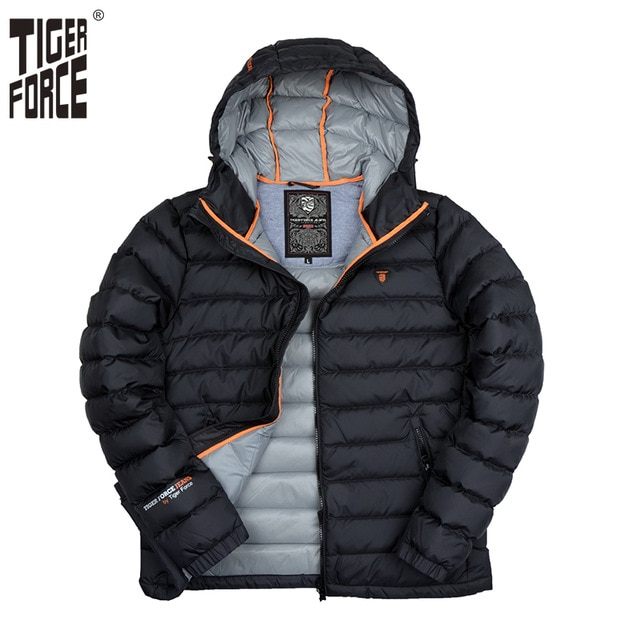 TIGER FORCE 2018 Men Down Jacket 90% White Duck Down Coat Male