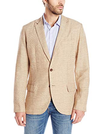 Nautica Men's Linen Blazer, British Khaki Small at Amazon Men's