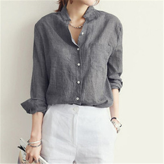 Sexy Thin Women Cotton Linen Blouse Shirt 2018 Spring Autumn Casual