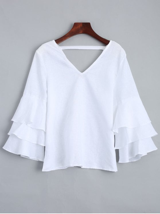 26% OFF] 2019 Tiered Sleeve V Neck Linen Blouse In WHITE L   ZAFUL
