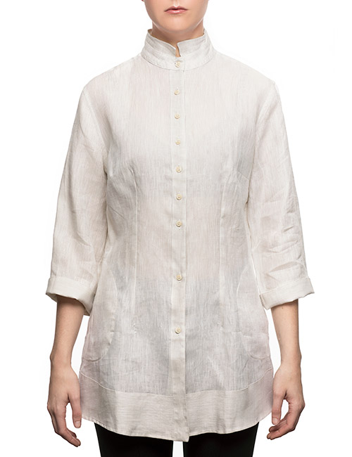 Marilyn Long Linen Blouse With 3/4 Sleeves and Pockets u2013 Color