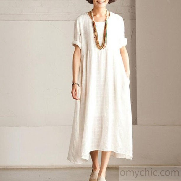 Fine white Short sleeve linen dress summer long dress
