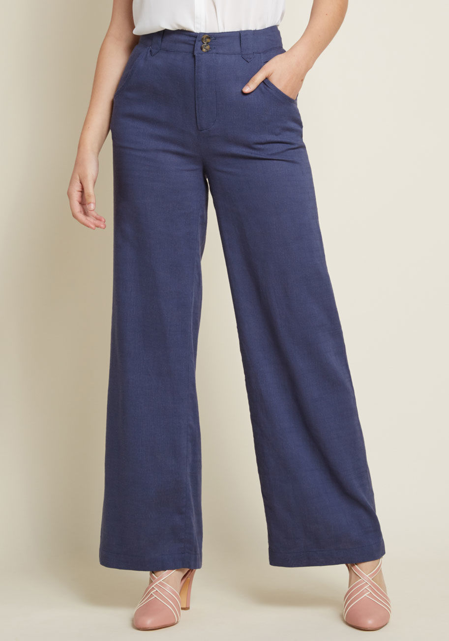ModCloth Moment of Couth Cotton-Linen Pants in Navy Blue | ModCloth