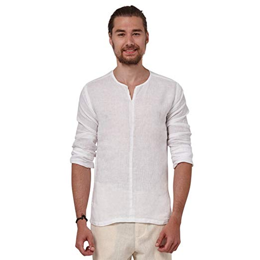 Liash Stylish Linen Shirts for Men - Collarless Casual Shirt for Men