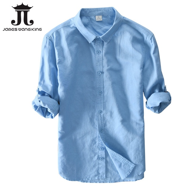 New 2018 Men Linen Shirts For Man top Clothing Solid 55%linen+45