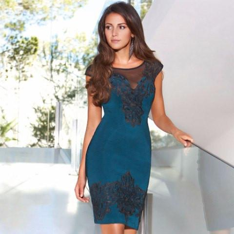 Lipsy Teal Lace Teal Applique Dress u2013 The Laguna Room