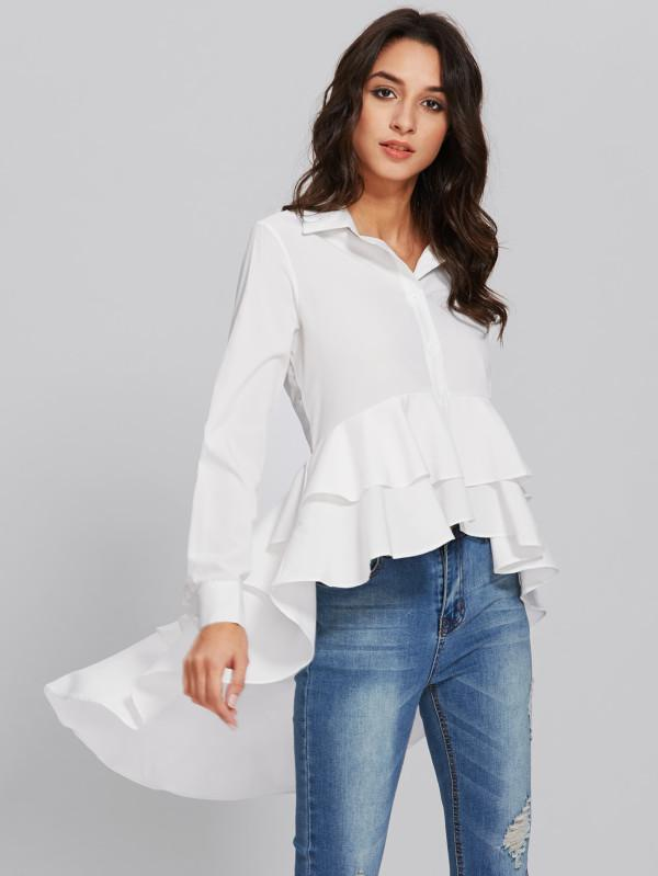 2019 Monroo Blouse 2018 2018 White Long Sleeved Irregular Ruffle