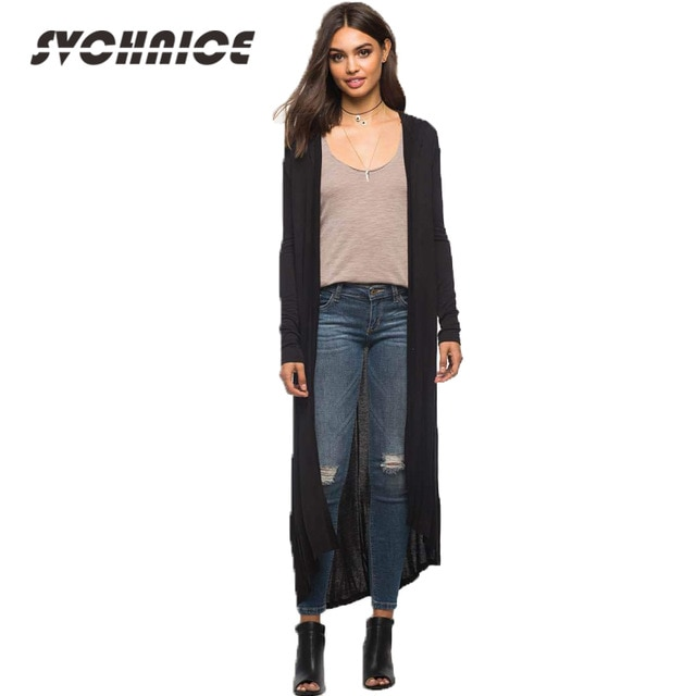 Hooded Extra Long Cardigan Women Long Sleeve Cardigan Sweater Poncho
