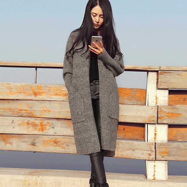 Version of a long paragraph cardigan pocket big long cardigan