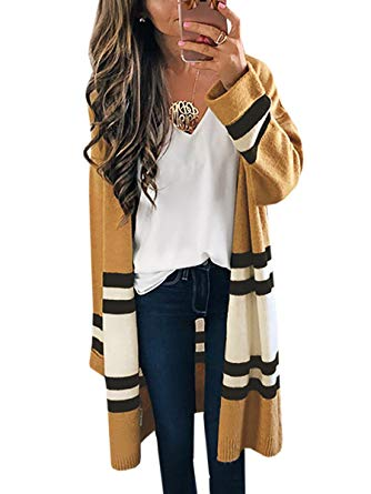 Womens Long Cardigans Yellow Color Block Open Front Long Sleeve Kint