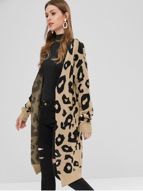 37% OFF] 2019 Leopard Long Cardigan In MULTI S | ZAFUL