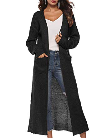 Womens Casual Long Sleeve Split Open Cardigan Knit Long Cardigan
