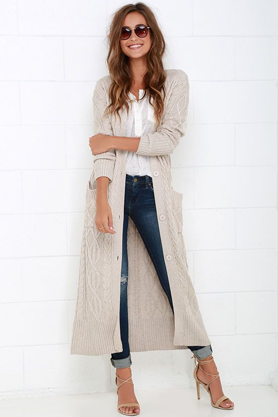 Long Knit Cardigan | Outfit Ideas in 2019 | Fashion, Fall outfits