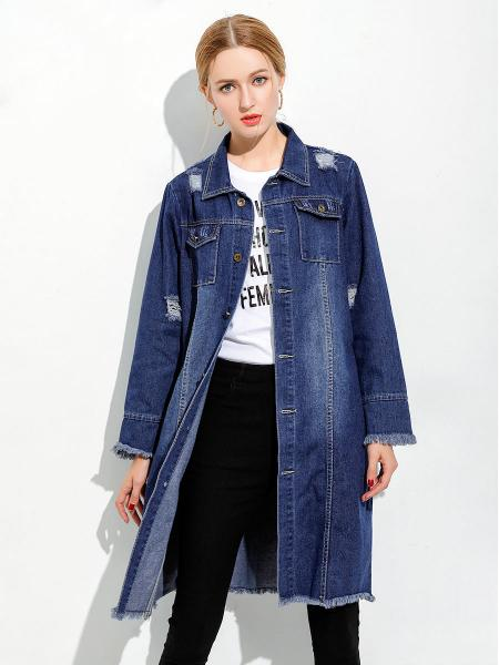 Retro Loose Fit Distressed & Ripped Ladies Long Denim Jacket Blue