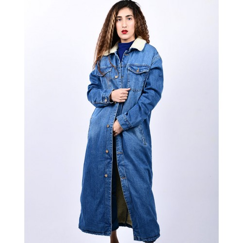 ZARA FLEECE DENIM JACKET LONG COAT