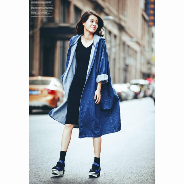 Oversized Denim Jacket Long Hooded Loose Full Sleeve Winter Jeans