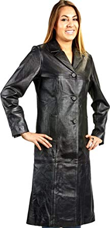 Ladies 3 Button Matrix Black Long Leather Coat at Amazon Women's