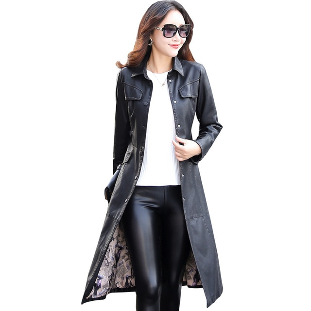 Women Long Leather Jacket 2018 New Fashion Ladies Elegant Washed PU