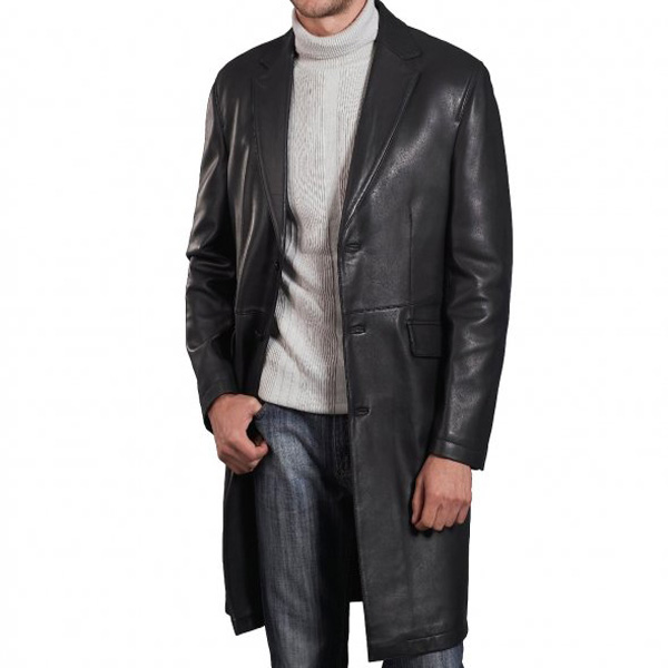 A Supreme Quality Black Leather Long Coat For Men - Leather Jackets USA