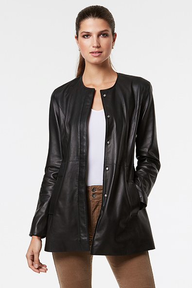 Long leather jacket - Jackets - Women | TRISTAN