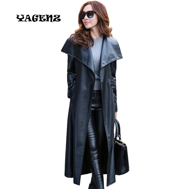Plus Size M 3XL Vintage Black PU Leather Jacket Coat Women Long