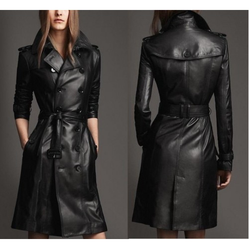 Leather Rider Black Long Coat Lambskin Trench Leather Coat For