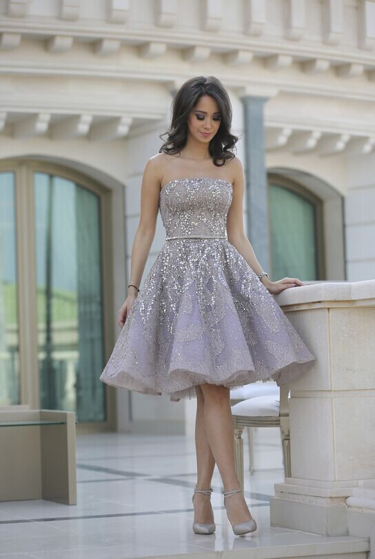 $279-Strapless Lace Crystals Beading Short Prom Dresses Silver Knee