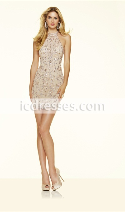 luxury rhinestone Champagne cocktail dresses short evening cocktail