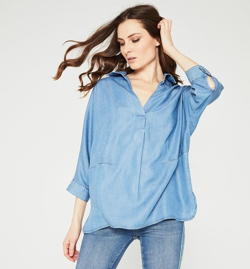 Overshirt in lyocell - Medium denim - Women - Shirts / Tunics - Promod