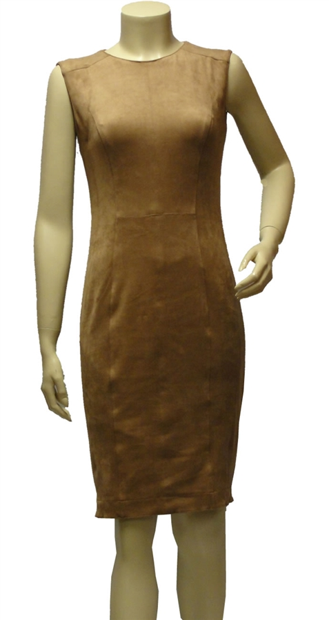 Marc Cain caramel fully lined, sleeveless,faux suede effect fitted dress