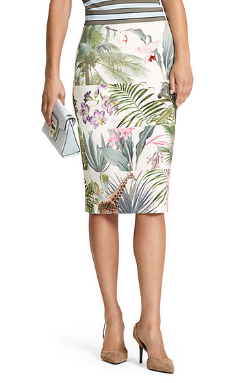 FLORAL STRETCH SKIRT - Shop by Style-Skirts : Home - MARC CAIN SPRING 19