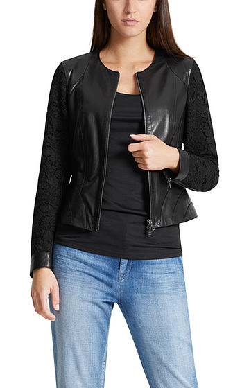 Leather jacket with lace sleeves | marc-cain.com/en