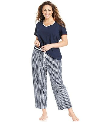 Nautica Plus Size Pajamas, Maritime Top and Pajama Pants Set