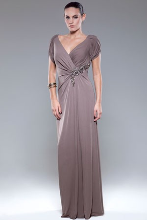 Mascara Taupe Evening Dress with Sleeves