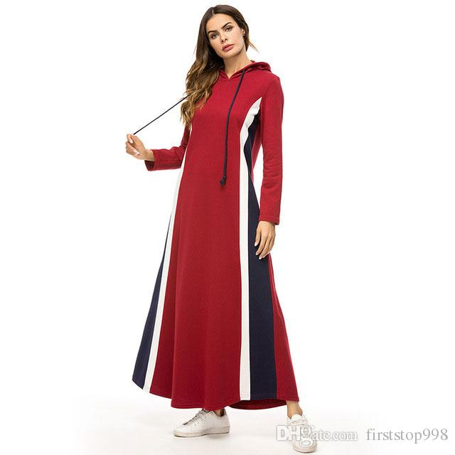 Casual Hooded Long Dress Fashion Striped Patchwork Maxi Dresses