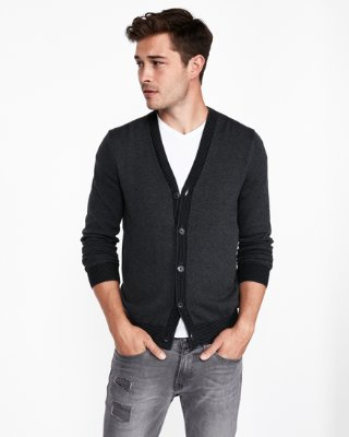 Tipped V-neck Cardigan | Express