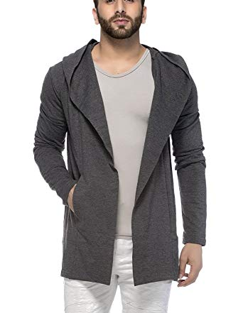 Tinted Men's Cotton Blend Hooded Cardigan Black at Amazon Men's