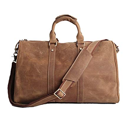 Amazon.com | AKGOO Real Leather Duffel Bags For Men Weekender