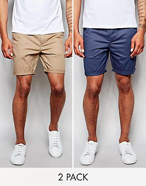 ASOS 2 Pack Slim Chino Shorts In Mid Length SAVE 17% | Natasha and
