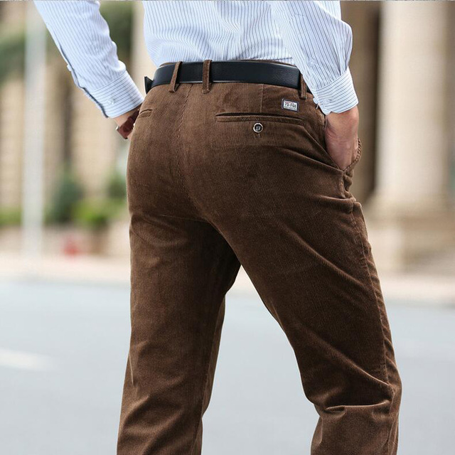 New Fashion winter pants men thick trousers mid waist loose trousers